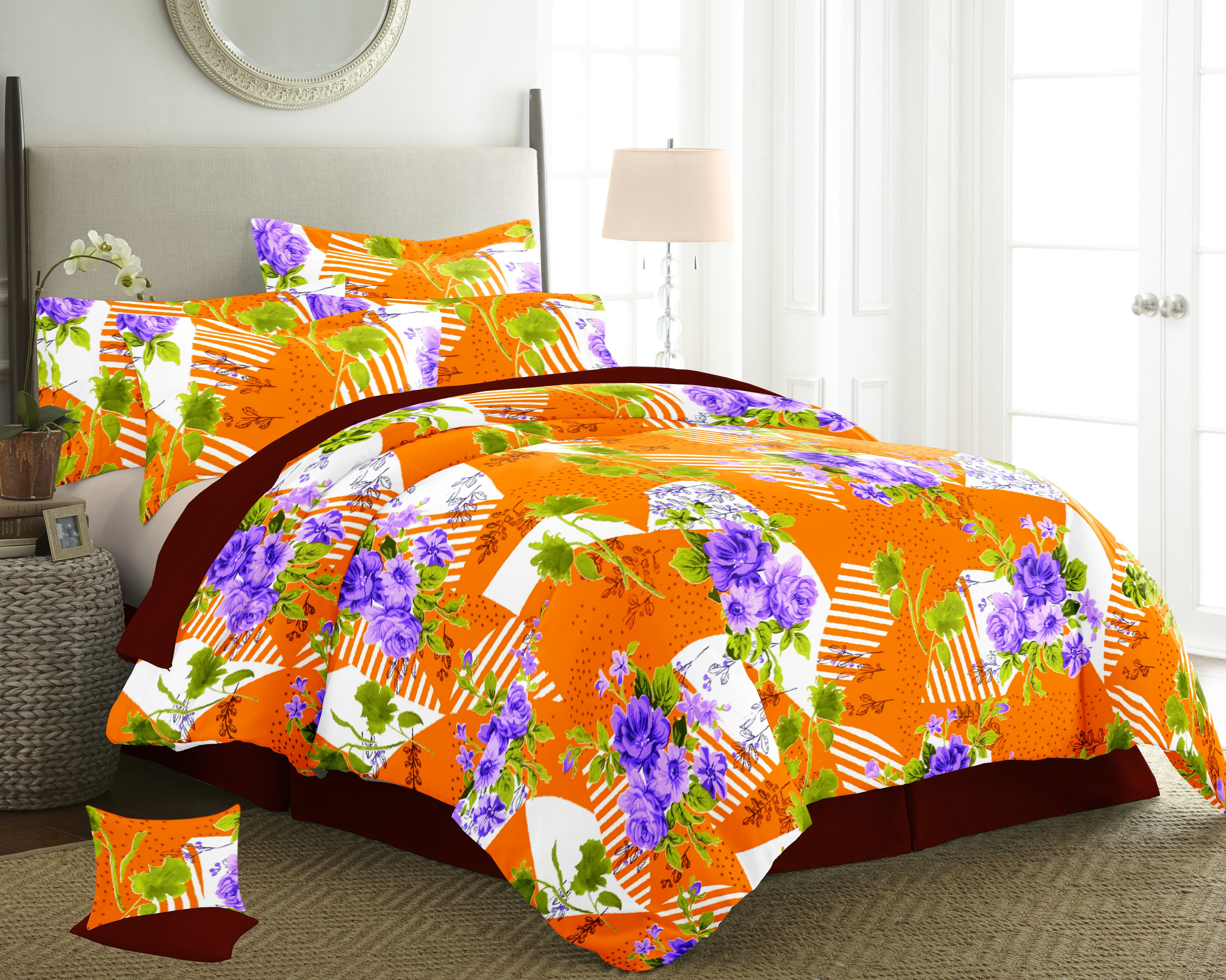 double bed sheets size 225-245 with 2 pilow cowers 46/68 cms 100%cotton