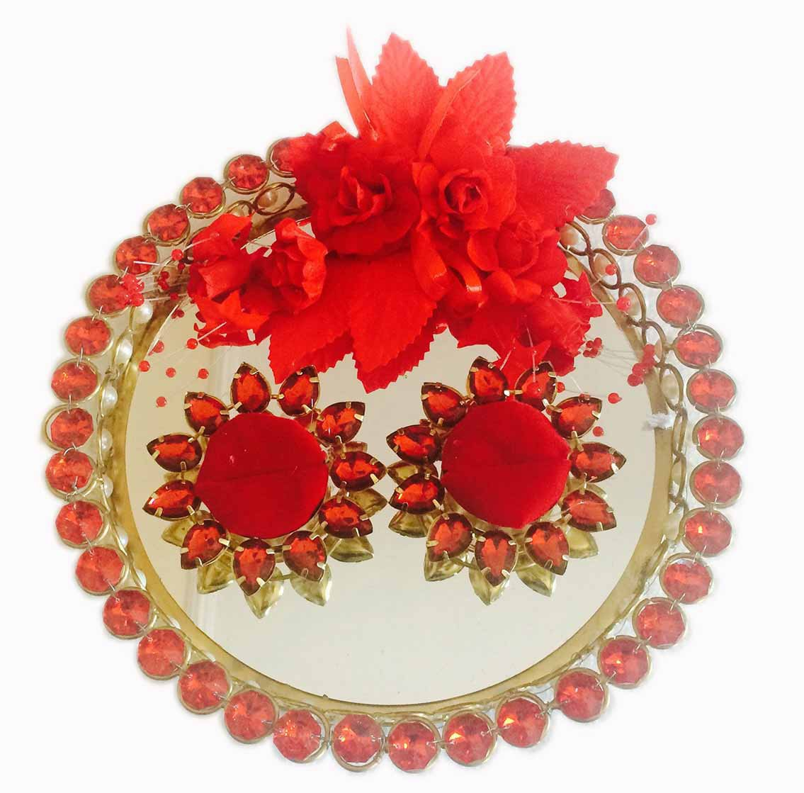 """Platter Size""""8″ Diameter approx. Colour: Red & Gold Material: Metal, Glass ,Fabric & Plastic Purpose: Wedding/Engagement Ring display . Note: Image shown above is Indicative only, Color may differ from the picture shown (Features will remain same or More)"""