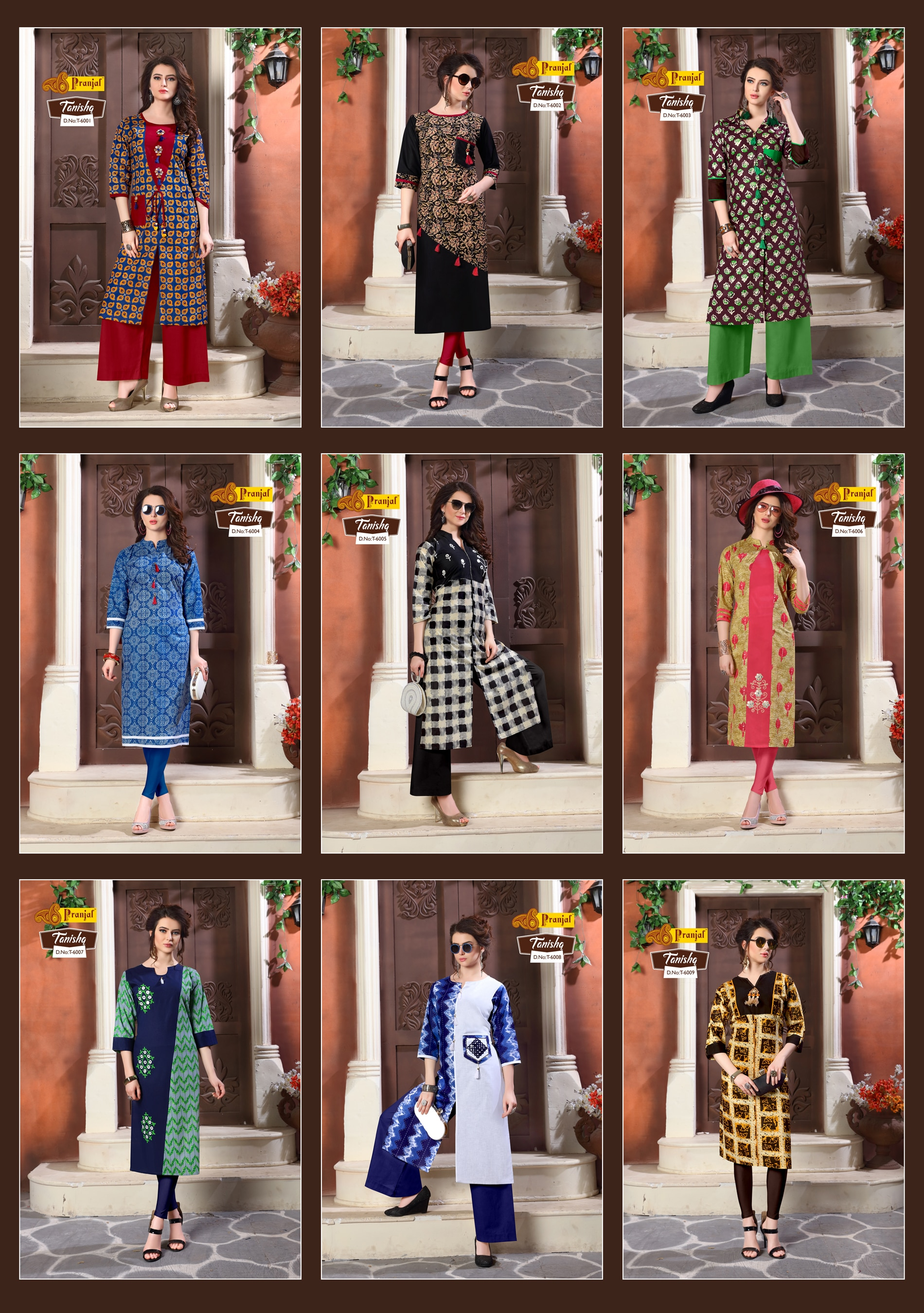 Pranjal Creations achieved one more miles stone in TANISHQ Catalogue sequence. We are happy to announce launching of new catalogue TANISHQ VOL.6. This Kurtis are specially made for all season. The enriched Pure Printed Cotton fabric is very comfortable to the wearer. Mix and Match Prints with embroidery work looks very excellent. The catalogue is available in 9 different colour and designs. The Sizes available is L, XL and XXL