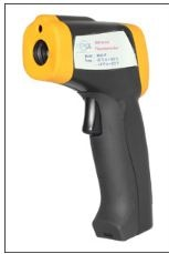 The HEATCON infrared thermometer is a compact, lightweight and low cost infrared thermometer. Simply aim and pull the trigger to display the temperature of the item being measured. Infrared thermometer measures temperature over the range of -50 to 330°C with an assured accuracy of ±2°C over the range of 0 to 330°C, outside of this range (-50 to 0°C) accuracy is ±4°C.  This infrared thermometer has a clear, easy to read, LCD display with low battery, and backlight indication and an auto power off facility that turns the instrument off after 10 seconds, maximizing battery life. The Mini HEATCON INFRARED THERMOMETER is ideal for numerous temperature measurement applications where contact with the item to be measured is an issue.  It is switchable to measure °C or °F.  Infrared Thermometer  Specification  Heatcon infrared Thermometer  Range  -50 to 1200°C Resolution  0.1°C or °F  Infrared accuracy  ±2°C (0 to 330°C) and ±4°C (-50 to 0°C)  Field of view  Target ratio 12:1  Emissivity  0.95 fixed  Battery  9 volt PP3  Battery life  80 hours continuous use  Display  Custom LCD  Dimensions  39 x 95 x 131mm  Weight  130 grams