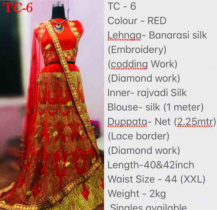 ~~~~TC - 6~~~~~ Colour - Blue & Red  Lehnga- Banarasi silk (Embroidery) (codding Work)  (Diamond work) Inner- rajvadi Silk Blouse- silk (1 meter) Duppata- Net (2.25mtr)  (Lace border) (Diamond work) Length-40&42inch Waist Size - 44 (XXL) Weight - 2kg