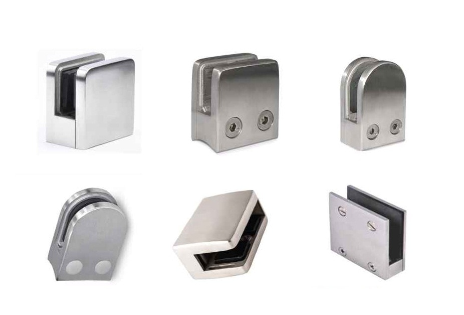 Glass Clamps / Glass Brackets with variant designs and forms to suit the architectural structure.  Finish : Glossy and Matte