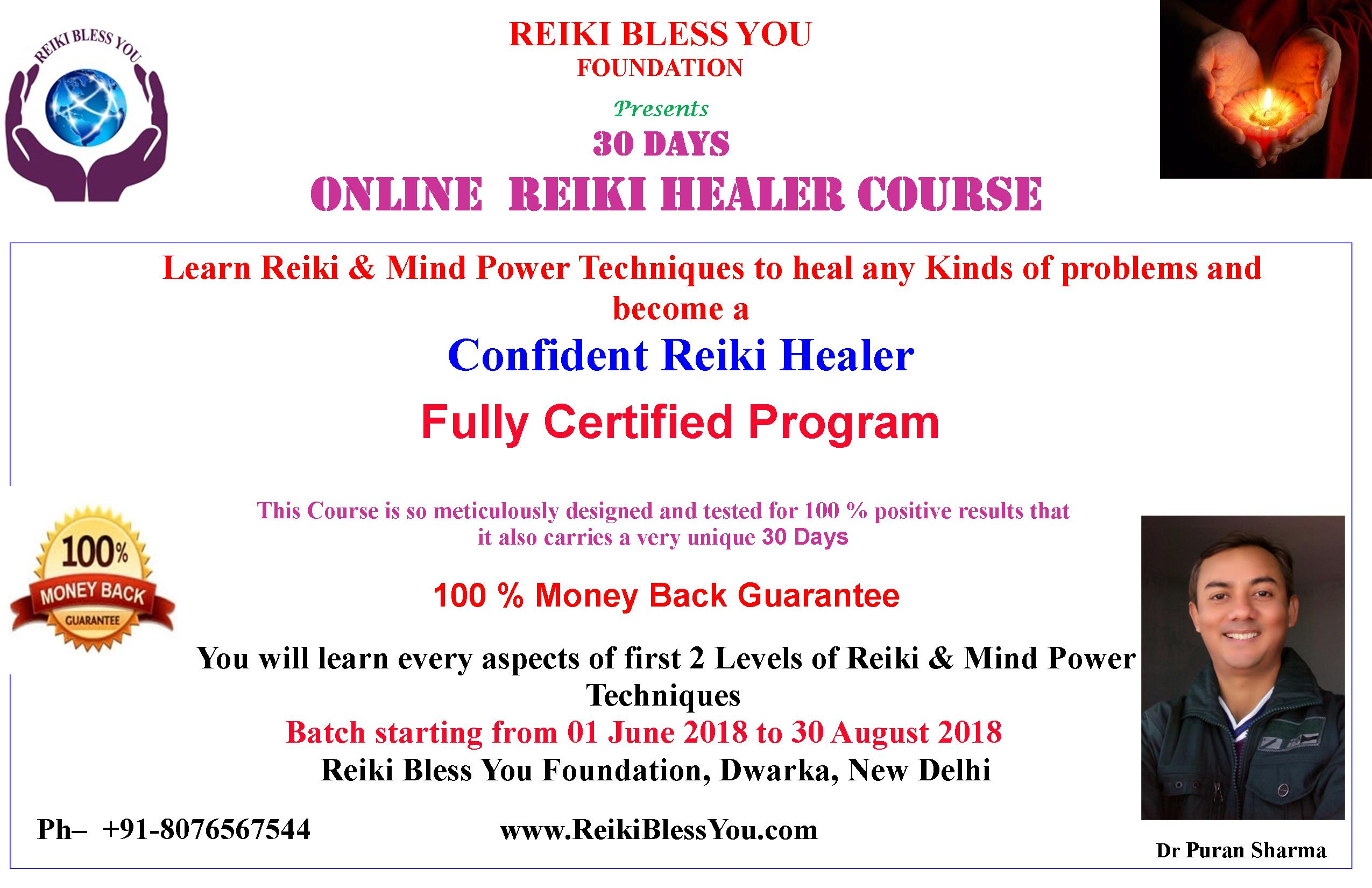 LEARN REIKI LEVEL 1 AND LEVEL 2 WITH BASIC MIND POWER TECHNIQUES  YOU WILL LEARN EVERY ASPECTS OF REIKI LEVEL 1 AND 2 AND BECOME COMPETENT ENOUGH TO SHOW YOUR HEALING CAPABILITIES WHEREVER IT IS NEEDED.  A VERY PRACTICAL REIKI HEALING COURSE  STEP-BY-STEP GUIDANCE BY REIKI GRAND MASTER DR PURAN SHARMA