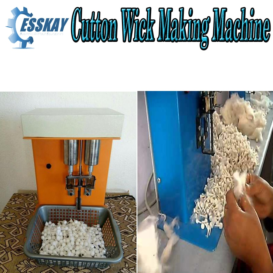 M/s EssKay Trading is the Leading Supplier of This Machine, we are serving our services from last 30yrs. Since1984 Semi Automatic Round Cotton wick making machine : Key competitive advantage: · compact, portable & affordable. · easy to use and maintain · power required :single phase · Electricity Bill : Rs.100 Per months · production : 25 to 30 nos. Per minute · Counting : 1kgs Cotton = 9000 to 10000 no of wick  · provides income generation opportunity for rural and urban people. · Free :Tool Kit · 1Year Warranty For More Detail Call or Whatsapp +919584776611 RkshoriM/s EssKay Trading is the Leading Supplier of This Machine, we are serving our services from last 30yrs. Since1984 Semi Automatic Round Cotton wick making machine : Key competitive advantage: · compact, portable & affordable. · easy to use and maintain · power required :single phase · Electricity Bill : Rs.100 Per months · production : 25 to 30 nos. Per minute · Counting : 1kgs Cotton = 9000 to 10000 no of wick  · provides income generation opportunity for rural and urban people. · Free :Tool Kit · 1Year Warranty  Rkshori