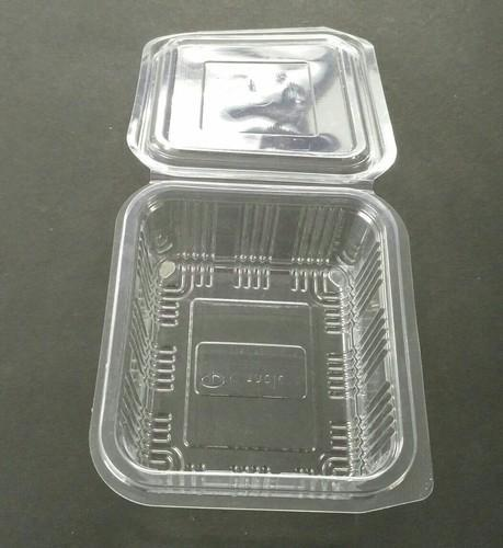 RECTANGULAR HINGED CONTAINER  These products are made of PS (Polystyrene), PP (Polypropylene) & PET (Polyethylene Terephthalate) virgin food grade material by Thermoforming & Vacuum forming processes. These products are used for packing food like salad, fruits,etc. . These containers are also called fruit packing box.