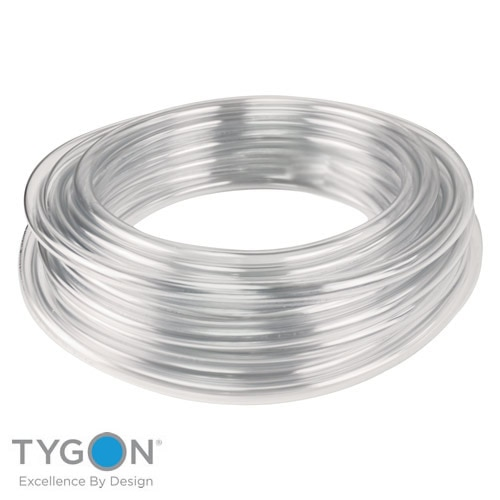 TYGON - Laboratory Tubing - Part No-ACF00010 - ID x OD inch - 5/32 x OD 9/32 - ID x ODmm - 3.97 x OD 7.1 Details:  Tygon Laboratory Tubing Details:  Crystal clear and flexible.   Tygon Laboratory Tubing handles virtually all inorganic chemicals found in the lab.  It is non-oxidising and non-contaminating.   This tube can be autoclaved and is flexible even at -43°C.  Durometer hardness Shore A55.   Can be used with condensers, incubators, gas lines, drain lines, etc.