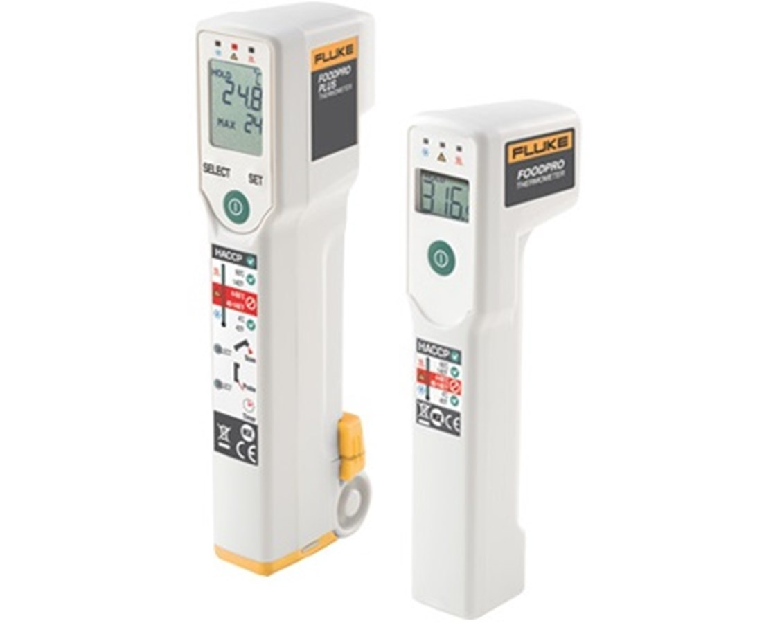 Fluke FoodPro Plus IR Thermometer  Key features •Two-in-one infrared thermometer for foodservice •Combines an infrared non-contact thermometer for surface scans with a probe thermometer for internal temperature readings •Features an integrated countdown timer with alarm that monitors line checks as well as cooking and cooling intervals •Provides a built-in fold-out probe for measuring internal food temperatures  Product overview Fluke FoodPro Plus food safety thermometer measures both internal and surface temperatures with one handy tool The Fluke FoodPro Plus thermometer provides a complete temperature measurement and monitoring solution for foodservice professionals. Use the FoodPro Plus to quickly and accurately measure food product temperatures to help detect potential food safety problems. It combines the same infrared surface temperature scanner as the FoodPro, and adds to it a fold out probe thermometer for measuring internal food temperature, and an integrated countdown timer for complete inspections of food temperatures and monitoring cooking and cooling intervals. Like the FoodPro, the FoodPro Plus thermometer is hand-washable and features unique HACCP check lights, which immediately indicate safe or potentially unsafe holding temperatures with either green or red lights. The Fluke FoodPro Plus is useful for: •Receiving: Use the FoodPro Plus thermometer to quickly verify proper temperatures of food products at the point of delivery as recommended by your HACCP program. •Food holding: Easily monitor hot and cold food holding. HACCP check lights provide instant recognition of safe/unsafe temperatures •Inspection: Conduct food line inspections daily to ensure compliance with local food temperature monitoring requirements •Equipment Calibration: Verify proper operating temperature of coolers, freezers, grills, fryers, warmers, as well as hot and cold storage units to avoid inconsistent food service, costly spoilage and to allow quicker response, reducing equip