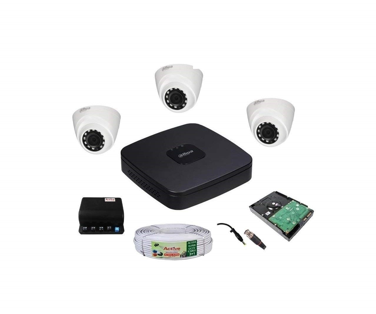 •	Dahua FULL HD 2-MP 1080P DVR 4CH 1-Pcs, 1TB SURVELLANCE HDD. •	Dahua FULL HD DOME 2-MP 1080P Dome Night Vision Camera 3Pcs. •	FEECOM 3+1 Copper Cable, FEECOM Power Supply, BNC 6Pcs, DC 3Pcs. ( Installation is not included.) •	2 Years Seller Warranty Of Camera & DVR. 3- Year Warranty Of HDD & 1-YEAR Power Supply. (BNC, DC, Adapter, Mouse, Cable, Physical Damaged, Burned & short circuited Products are not Cover In Warranty (as per company norms) & Installation Services are Not Include. ( SOLD & FULLFILLMENT BY FEEDLINE COMMUNICATIONS )