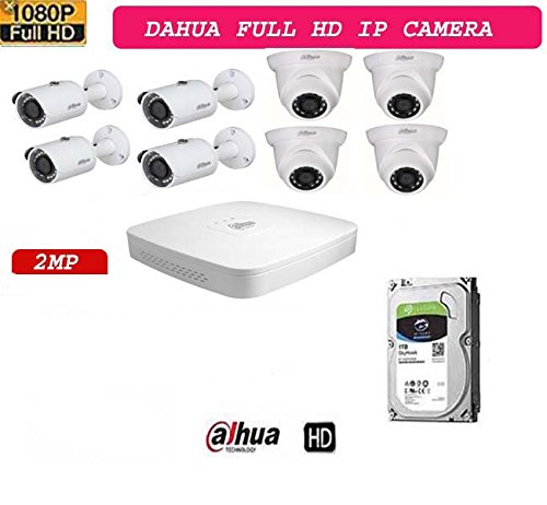 "DAHUA NVR2108HS-4KS2 8CH HD NVR 1Pcs,Dahua IPC-HDW1230S Dome camera 4Pcs, Dahua IPC-HFW1230S Bullet camera 4Pcs. 1 TB Seagate/WD Purple Surveillance Hard Drive 1Pcs, 1/3"" 2Megapixel progressive CMOS H.265& H.264 dual-stream encoding 25/30fps@1080P(1920×1080) DWDR, Day/Night(ICR), 3DNR, AWB, AGC, BLC Multiple network monitoring: Web viewer, CMS(DSS/PSS) & DM 2.8 mm fixed lens (3.6mm optional) Max IR LEDs Length 30m IP67, PoE 1/2.7"" 2Megapixel progressive CMOS H.265& H.264 dual-stream encoding 25/30fps@1080P(1920x1080) DWDR, Day/Night(ICR), 3DNR, HLC, AGC, BLC Multiple network monitoring: Web viewer, CMS(DSS/PSS) & DMSS 2.8 mm fixed lens (3.6mm optional) Max IR LEDs Length 30m IP67, PoE H.265/H.264 codec decoding Max 80Mbps incoming bandwidth Up to 8Mp resolution preview&playback Up to 1ch@8 MP/4ch@1080P decoding  HDMI/VGA simultaneous video output"