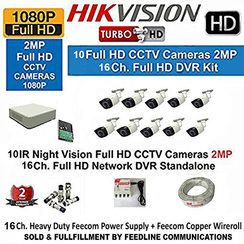 Hikvision DS-7116HQHI-F1 1080P (2MP) 16CH Turbo HD DVR 1Pcs + Hikvision DS-2CE16DOT-IR Bullet Camera 10Pcs + 2-TB HDD +feecom Copper wireroll + feecom heavyduty Power Supply Full Combo Kit.( SOLD & FULLFILLMENT BY FEEDLINE COMMUNICATIONS TRUSTED BY AMAZON )