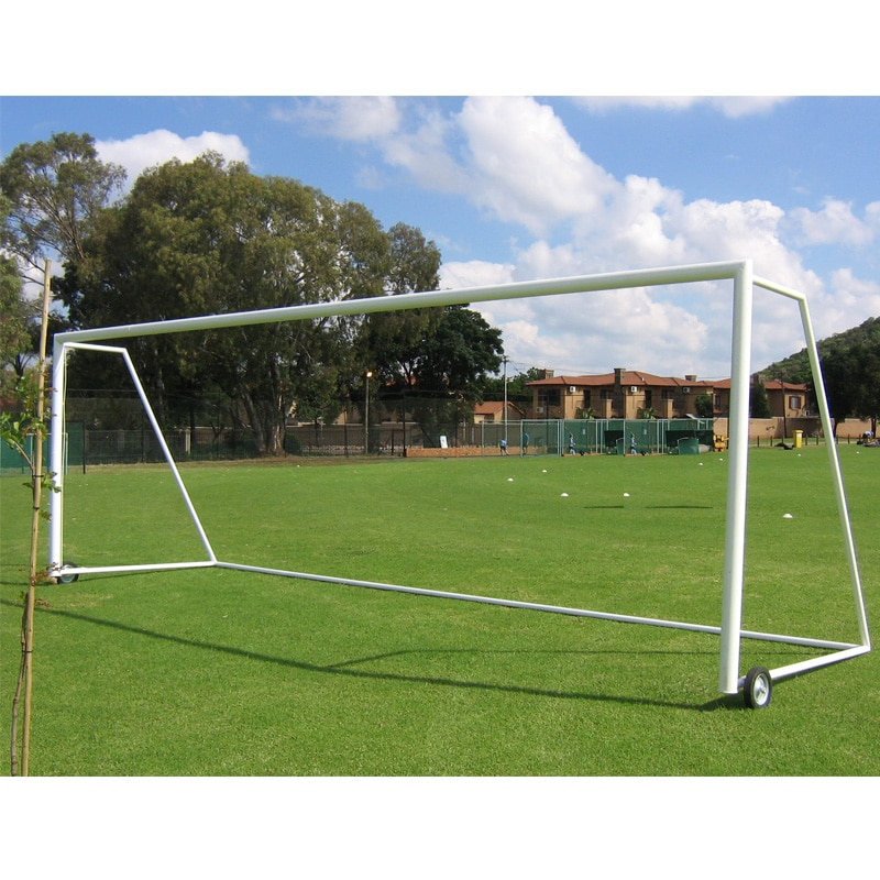 Football goal post made of steel round tubing. Made of heavy tubular pipe. Comes with Hexagon or box shape net as per customer requirement. Made heavy box shape or taper football goal post. Rhyno manufacture fold able goal post which are easy to transport.