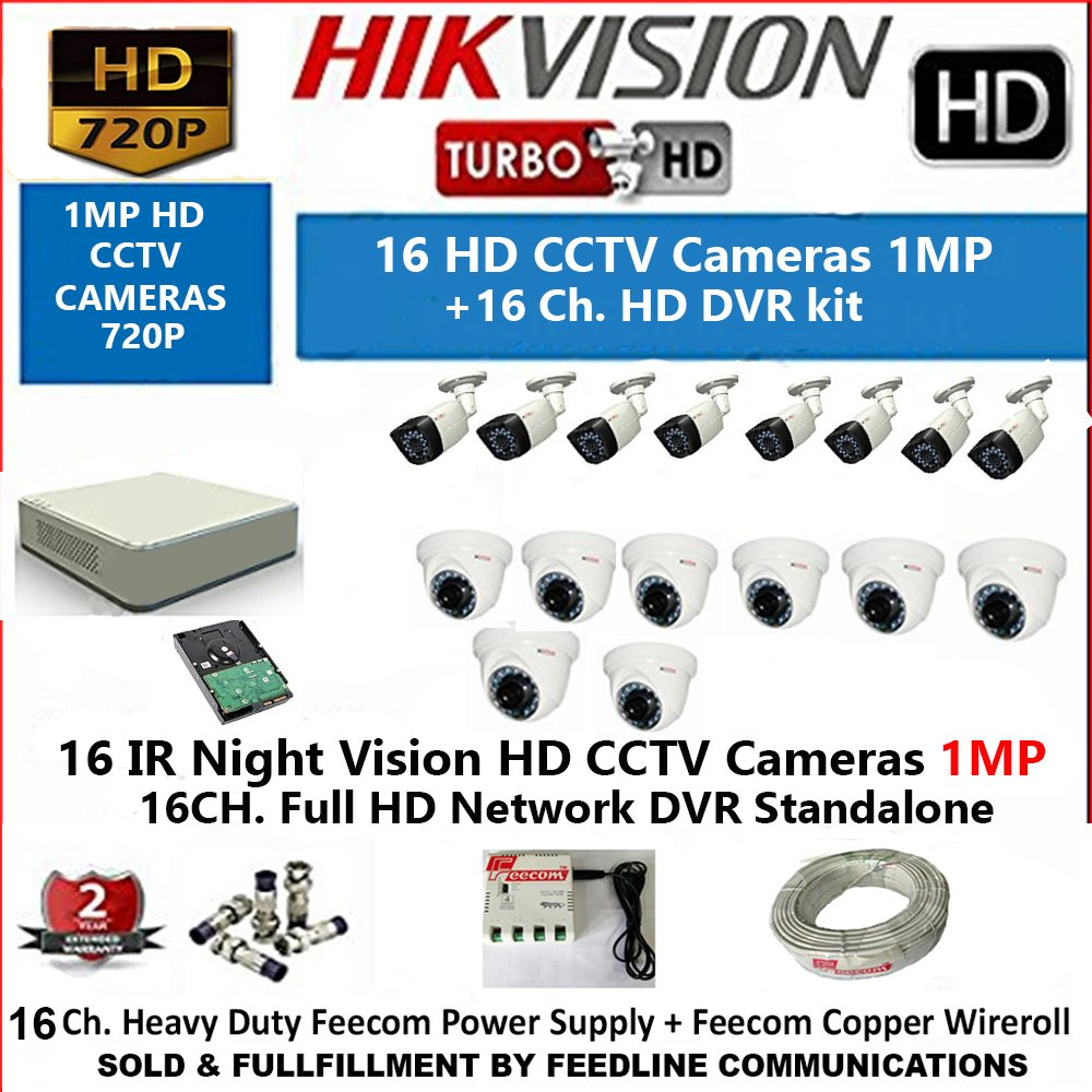 HIKVISION 16-CHANNEL HD 1-MP ( 720P ) DVR WITH 1-MP ( 720P ), 8-PC DOME CAMERA 1MP & 8-PC BULLET CAMERA 1MP WITH NIGHT VISION /  2 TB HDD ,WIRE ROOL 3+1 ,, POWER SUPPLY,,,,