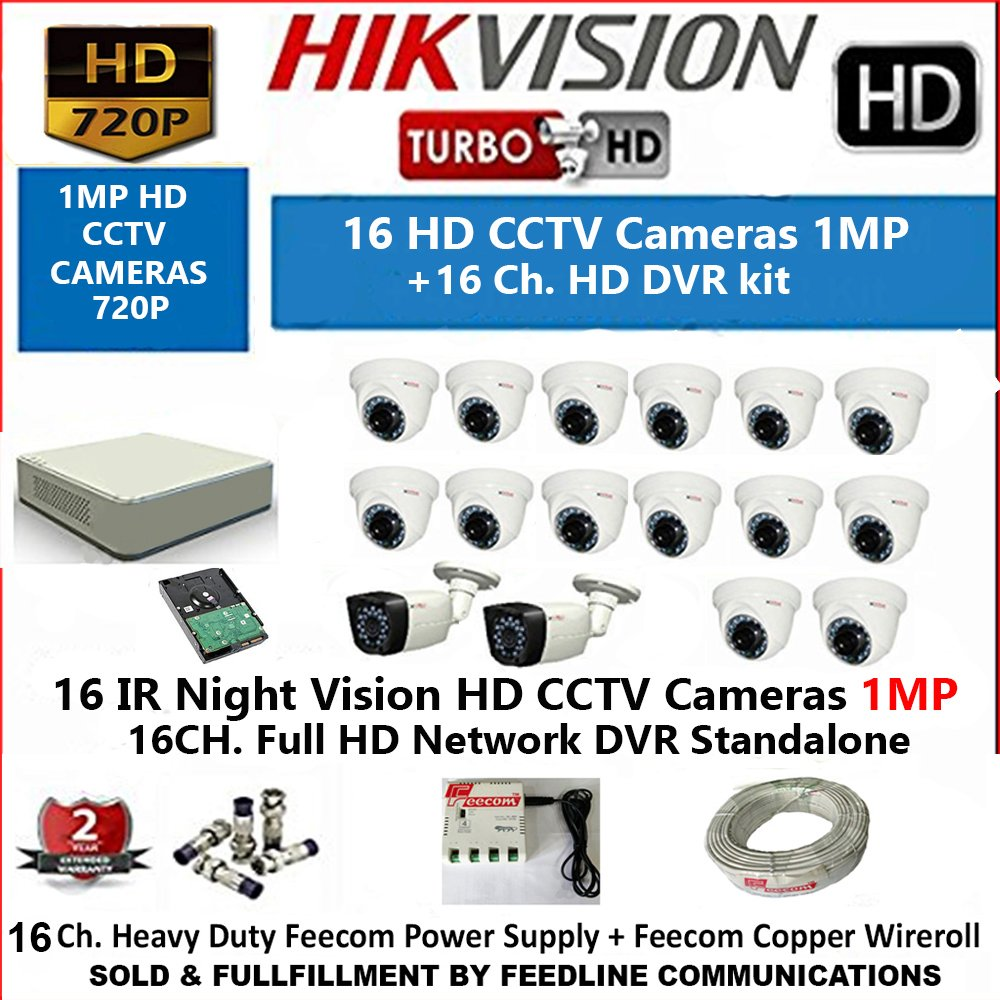 HIKVISION 16-Channel HD 1-MP (720P) DVR with 1-MP (720P), 14-PC Dome Camera 1MP & 2-PC Bullet Camera 1MP with Night Vision / 2 TB HDD, WIRE ROOL 3+1 ,, BNCV+DC .. POWER SUPPLY/