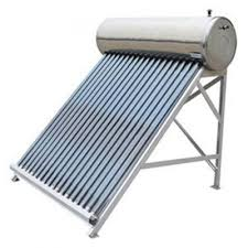 To meet the various requirements of the customers, we are involved in offering a wide assortment of Solar Water Heater. Salient Features of Solar Water Heating System Solar Hot Water System turns cold water into hot water with the help of sun's rays. Around 60 deg. – 80 deg. C temperature can be attained depending on solar radiation, weather conditions and solar collector system efficiency Hot water for homes, hostels, hotels, hospitals, restaurants, dairies, industries etc. Can be installed on roof-tops, building terrace and open ground where there is no shading, south orientation of collectors and over-head tank above SWH system SWH system generates hot water on clear sunny days (maximum), partially clouded (moderate) but not in rainy or heavy overcast day Only soft and potable water can be used Stainless Steel is used for small tanks whereas Mild Steel tanks with anticorrosion coating inside are used for large tanks Solar water heaters (SWHs) of 100-300 litres capacity are suited for domestic application. Larger systems can be used in restaurants, guest houses, hotels, hospitals, industries etc. Fuel Savings : A 100 litres capacity SWH can replace an electric geyser for residential use and saves 1500 units of electricity annually. Avoided uitility cost on generation The use of 1000 SWHs of 100 litres capacity each can contribute to a peak load shaving of 1 MW. Environmental benefits A SWH of 100 litres capacity can prevent emission of 1.5 tonnes of carbondioxide per year. Life : 15-20 years Approximate cost : Rs.15000- 20,000 for a 100 litres capacity system and Rs.110-150 per installed litre for higher capacity systems Payback period : 3-4 years when electricity is replaced 4-5 years when furnace oil is replaced 5-6 years when coal is replaced