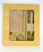 Wooden Pen Stand, Visiting Card Holder & Key Chain Combo