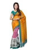 PetraFab Yellow Colored Super net Printed Saree