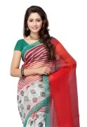 PetraFab White Colored Super net Printed Saree