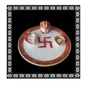 Designer Golden Hand Crafted Marble Pooja Thali With Ganesha Statue