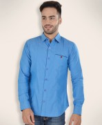 Barryline London Baby Blue Plain Casual Shirt