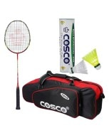 Cosco Aero 737 Woventec Badminton Racket Combo (Freebie: Feather Shuttle Cock & Cosco Tour Kit Bag)