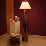 Kapoor Lamp Shades Pyramid Shaped Leather Floor Lamp