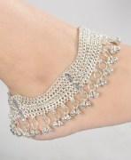 Silver  Kundan Payal Anklets Pair