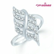 Meenaz-Fr131_12- Sublime Rhodium Plated Cz Finger Ring