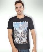 Black Cotton Printed T-Shirt