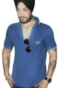 Blue Cotton T-Shirt For Men