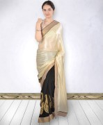 Mandira Bedi Georgette Golden & Black Bollywood Saree