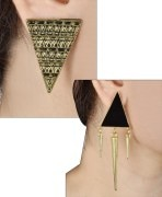 Habors Black Spike and Gold Aztec Earrings Combo Of 2