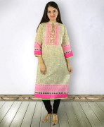 Off White Mullti Color Chanderi Kurta
