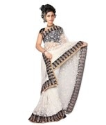 Bollywood Fashion Zone White Net Embroidered Saree