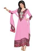 Craze N Demand Semi Stitched Surat Pink Faux Georgette Free Size Salwar Suit