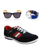 Lancer Black & Red Sports Shoes, Lotto Watch & Lotto Sunglasses