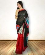 Black & Red Bhagalpuri Khadi Silk Saree