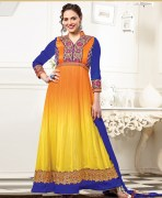 Esha Deol Georgette Orange & Yellow Semi Stitched Anarkali Suit Set