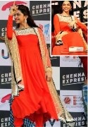 Clickingo Dipika Red Anarkali Dress