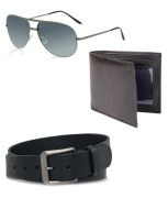 ZION Men's Black Belt Wallet Sunglass Combo