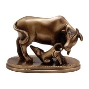 Brass EKC Kamdhenu Cow And Calf Statue