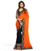 Vishal Black Embroidered Chiffon Sarees with Blouse Piece