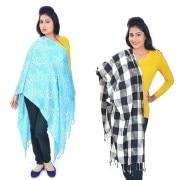 Little India-DL4COMB382-Designer n Stylish Pure Kashmiri Stoles Pair Combo