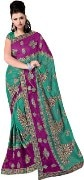 Janasya Self Design Embroidered Embellished Georgette Sari