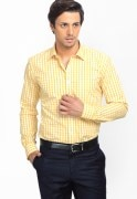 Genesis Checks Yellow Formal Shirt