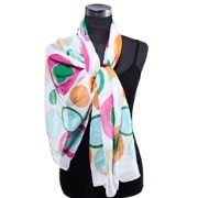 Dupatta Bazaar DB-0241 White Background Circles Pattern Stole