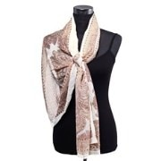 Dupatta Bazaar DB-0248 White Background  Floral Border And Print Stole