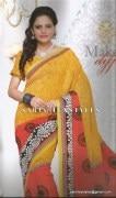 Sarin-1001-B-Swarna Pankh Shiffon Saree