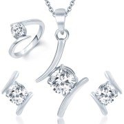 Sukkhi Angelic Rhodium Plated Solitaire CZ Jewellery