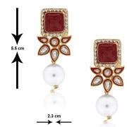 SpargzAIER 166 Dangling Kundan Fashion Ruby  Pearl Earring