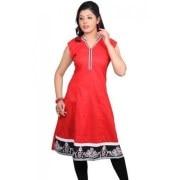 Dealt Fashion Red Cotton Long Kurti